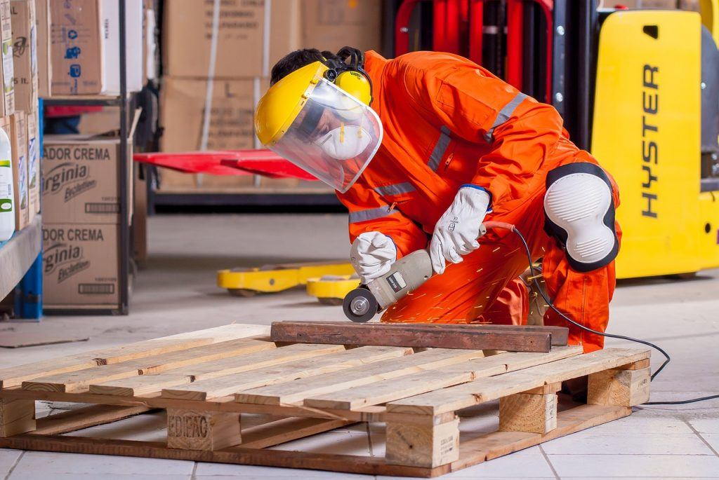 Worker demonstrating saftey at work